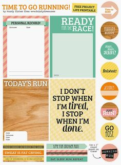 Free Time to go running! Project Life Printables from The Dainty Dream, by Mandy Fisher