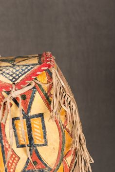 "Ogalala Sioux Painted Parfleche Round Bag, 13"" x 14"" x 3"" - Auction in Santa Fe"