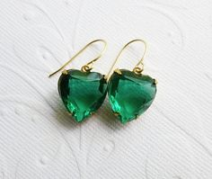 Green Heart Earrings  Christmas Jewelry  Ships between Dec by Aqsa, $16.00