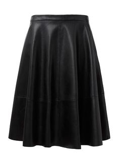 Comfortable yet neat fitting style features a full circle skirt, fixed waistband with zipper opening and midi panel hem. Available in Black as shown. Seed Heritage, Full Circle Skirts, Work Outfits, Skater Skirt, Zipper, Leather, Clothes, Shopping, Black