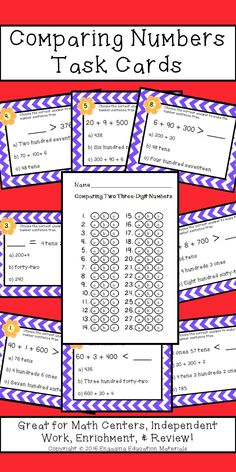 These task cards reinforce place value and comparing numbers!  Perfect for math centers!