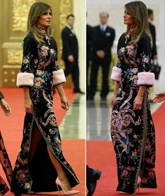 Melania Trump has been putting on a fashion show all across Asia this week and the latest outfit she wore will make just about anybody's jaw drop to the floor. President and Melania Trump attended a Melania Trump Dress, First Lady Melania Trump, Latest Outfits, Cool Outfits, Milania Trump Style, Donald And Melania, Estilo Real, Fashion Fail, Gown Photos