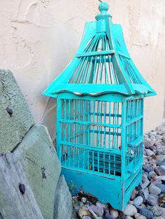 Shabby Chic Bird Cage Painted Bird Cage Bright by 2RendyVintage, $58.00