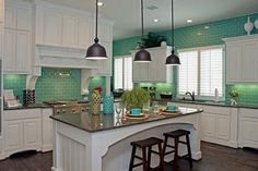 Turquoise Tile Kitchen | Design ideas kitchen tile | Ideas for Home Garden Bedroom Kitchen ...