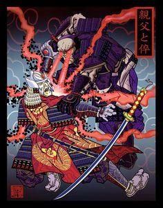 Ukiyo-e Style Superheroes by Drums of the Serpent Japanese Art Styles, Traditional Japanese Art, Japanese Games, Japanese Style, Samurai Art, Superhero Design, Korean Art, Star Wars Art, Comic Artist