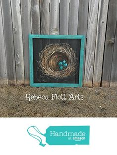 Bless this Nest, Nest painting on window screen with a teal frame from RebecaFlottArts https://www.amazon.com/dp/B06XDVKM9P/ref=hnd_sw_r_pi_dp_3TQYybM4VC82D #handmadeatamazon