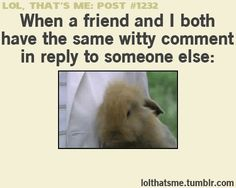 When a friend and I both have the same witty comment in reply to someone else