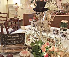 Sometimes I get carried away and put way too much stuff in my tablescapes.....so much that you can't even have a meal on the table...lol!