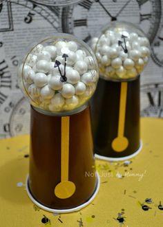 Inspired by @Amy Locurto | LivingLocurto.com's candy gumball machines, grandfather clock  favors for a #NewYearsEve party