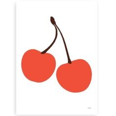 Cherry print by Swedish artist Lisa Masterson. Cherries, pure & simple. Print measures 50cm x 70cm.