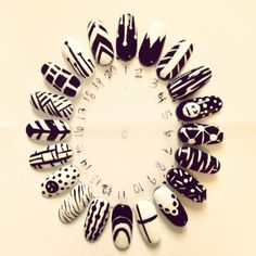 Black and white nail art designs on nail wheel