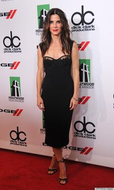 Sandra Bullock is simply beautiful in this chic black dress.