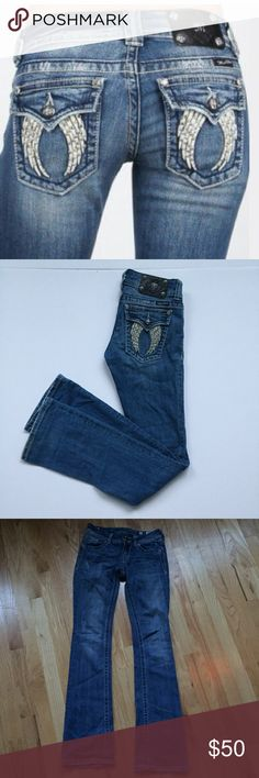 Miss Me Fallen Angel Wings Bootcut Jeans Super flattering Angel Wings with crystals flap pockets on distressed medium denim in very good used condition.  These are low Mid rise denim which is hard to find in a very flattering bootcut which tapers in at your knees.  In very good used condition.  Some wear on the bottom and lower hem.  Ask for measurements Miss Me Jeans Boot Cut