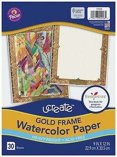 Ucreate Gold Frame Watercolor Paper 9 X 12 Inches 30 Sheets