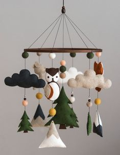Wald Tier / Wald Mobile / Mobile Filz / Berg / Kindergarten / Mond / Reh / Eule / Dekor / Monochrom / skandinavischen Dekor / Cloud - New Ideas Woodland Mobile, Woodland Nursery, Baby Room Themes, Nursery Themes, Themed Nursery, Forest Animals, Woodland Animals, Baby Mobile, Mobile Mobile