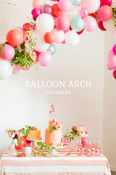 How to make a balloon arch, flamingo party Flamingo Party, Flamingo Birthday, Decoration Evenementielle, Fiestas Party, Throw A Party, Party Entertainment, Balloon Decorations, Balloon Arch Diy, Balloon Garland
