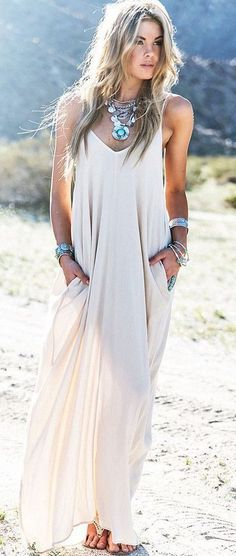 #boho #fashion #spring #outfitideas | Hippie White Spaghetti Strap Pleated Floor Length Dress