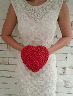 Red Beaded Heart Bouquet