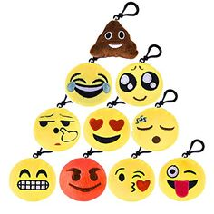 "Kuuqa Emoji Face Keychain, Mini Cute Emoji Plush Pillow Keychain 2"" Emoji Party Supplies (10 Pack) ** Additional details @"
