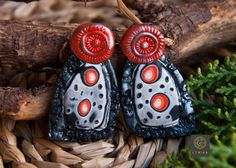 Stud Earrings Handmade Polymer Clay Abstract Black Orange Silver Gift for Her Casual Earrings Boho Earrings Etnika Unique Original Hippie by Etniika on Etsy