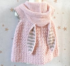PDF Crochet Pattern Little Bunny Hooded Dress 5 Sizes 6 Months Baby Girl Crochet, Crochet Baby Clothes, Crochet For Kids, Crochet Baby Stuff, Crochet Baby Outfits, Gilet Crochet, Knit Crochet, Crochet Baby Sweater Pattern, Crochet Baby Sweaters