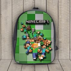Minecraft Creeper Leather Backpack for Student, Children, Child, Kids, Boy, Girl School Bag - 13204