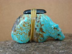 Zuni Indian Hand Carved Number 8 Turquoise Bear Fetish by Herbert Halate!
