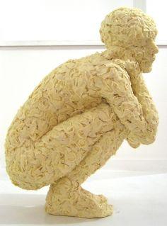"""Crouching Figure"" - masking tape art by Anna Gillespie, via ArtzuGallery"