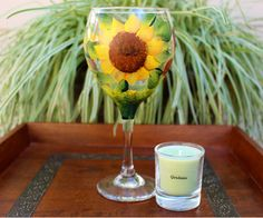 Hand Painted Sun Flowers Wine Goblet by HScandles on Etsy. #wine #wineglass #wineglasses #goblets #winegoblets #handpainted #handpaintedglass #candleholders #candleholder #etsy #winelovers #candles #etsyshop #homedecor #drinks #gifts #giftsforwomen #sunflowers