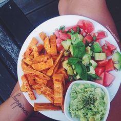 dinner is served! tried @healing_belle s watermelon avocado salad for the first time and will definitely do it again also had no oil sweet potato fries with garlic powder and more avocado as a dip sprinkled with herbs! #Padgram