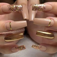 55 trendy rose gold nails you can& resist - nail designs . - 55 Trendy Rose Gold Nails You Can& Resist – Nail Designs – LastStepPin – 55 Trendy Rose - Glam Nails, Fancy Nails, Bling Nails, Cateye Nails, Gold Acrylic Nails, Rose Gold Nails, Gold Coffin Nails, Nails With Gold, Gold Tip Nails
