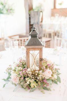 rustic wildflowers and wood lantern wedding centerpiece / http://www.deerpearlflowers.com/rustic-wedding-details-and-ideas/
