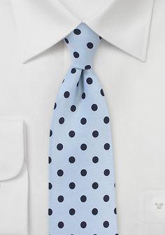 Sky Blue Necktie with Dark Blue Polka Dots