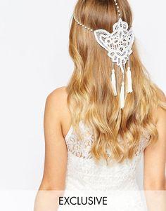 Olivia The Wolf | Olivia The Wolf Guipiur Lace Pearl Chain Tasseled Halo Headband at ASOS
