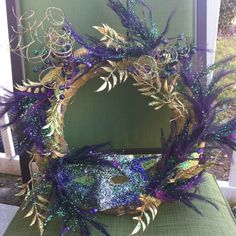 My Mardi Gras Wreath!!!!! Thx for helping mom....