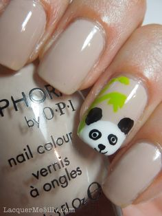 """Simple panda accent nail created with a nail art brush and dotting tools. Polish used: Base Color - Sephora By OPI """"Don't Feed the Hand Models"""" Bamboo - Finger Paints """"Sexy Sundress"""" Panda - Finger Paints """"Black Expressionism"""", Zoya """"Snow White""""."""