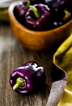 Aubergine peppers are classified as a fruit, due to the seeds, but most people think of them as vegetables. Fruit And Veg, Fruits And Vegetables, Fresh Fruit, Purple Bell Pepper, Antipasto, Purple Food, Purple Fruit, Mets, Food Styling