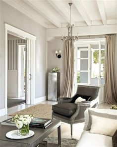 neutral color palette, white ceiling, elegant furnishings, beige curtains, grey walls and beautiful natural light. Living Room Windows, Living Room Colors, Living Room Grey, Home Living Room, Grey Room, Lounge Design, Curtains For Grey Walls, Ceiling Curtains, Brown Curtains
