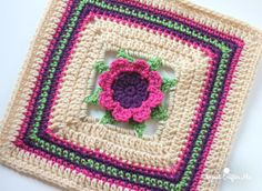 3D Crochet Flower Granny Square - Repeat Crafter Me