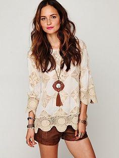 Diamond Crochet Tunic at Free People Clothing Boutique - StyleSays