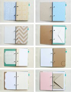 Cute mini journal reminds me of a diy smash book diy notebook, vintage note Mini Albums, Custom Journals, Art Journals, Book Journal, Bullet Journal, Journal Ideas, Journal Covers, Journal Cards, Handmade Books