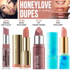 MAC Honeylove Lipstick Dupes - All In The Blush - All Things Beauty - Lipstick Blush Dupes, Mac Dupes, Mac Cosmetics Lipstick, Drugstore Makeup Dupes, Kylie Dupes, Kylie Lip Kit Dupe, Cosmetics Vegan, Eyeshadow Dupes, Beauty Makeup