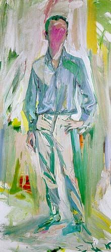 thefouruglypeople:  Elaine de Kooning, Frank O'Hara, 1962. Oil on canvas, 93 x 42 inches.
