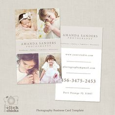 Photography Business Card Template for by ClickChicksDesigns