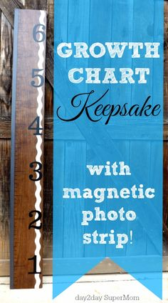 Growth Chart Keepsake with Magnetic Strip to hold Family Photos! on day2day SuperMom