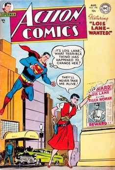 Lois Lane's brief eye-patch wearing, six-shooter outfit.Action Comics #195 (1954) cover by Wayne Boring