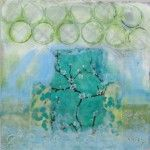 """""""In the 7 Woods"""" 12"""" square encaustic collage.     Sold."""