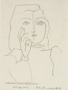Pablo Picasso (Málaga, Spain, 1881-1973, Mougins, France), Bust portrait of woman, hand to her face, 1948. Etching, drypoint on China paper. Meadows Museum Modern and Contemporary Artists Collection