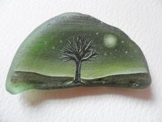Moonlit tree - Original acrylic miniature painting on frosted green English sea glass piece