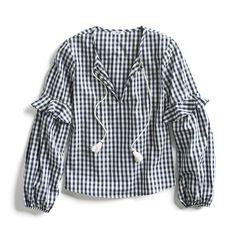 Stitch Fix Spring Stylist Picks: Boho black and white gingham print blouse